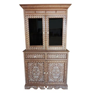 Vintage Bone Inlay China Cabinet