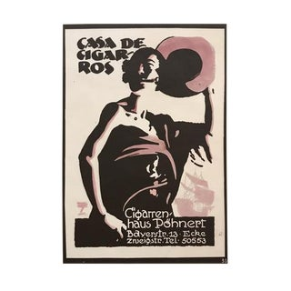 1926 Original German Art Deco Poster, Casa De Cigaros - Hohlwein For Sale