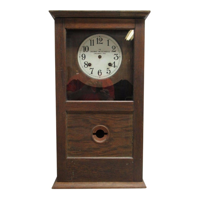 Antique American Classical Style Oak Time Recorder Clock For Sale