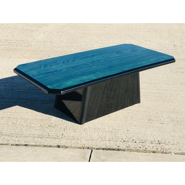 1980s Vintage Wood Coffee Table Malachite Finish For Sale - Image 11 of 12