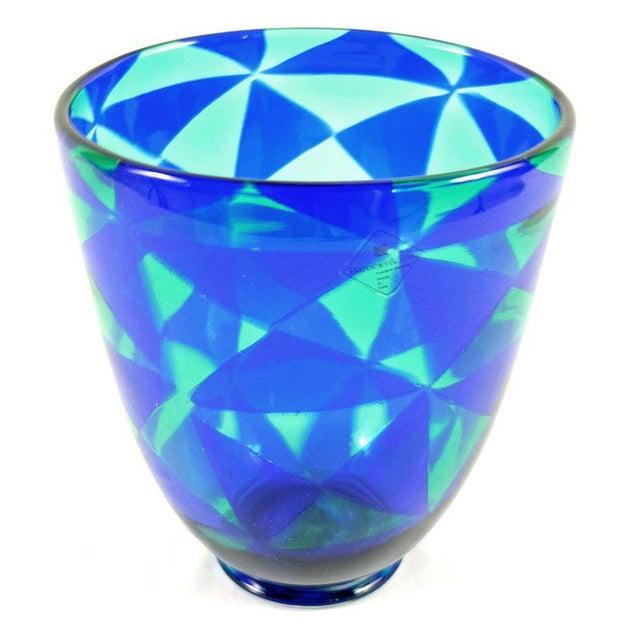 Modern Barovier & Toso Blue Mosaic Triangle Murano Venezia Glass Vase For Sale - Image 3 of 6