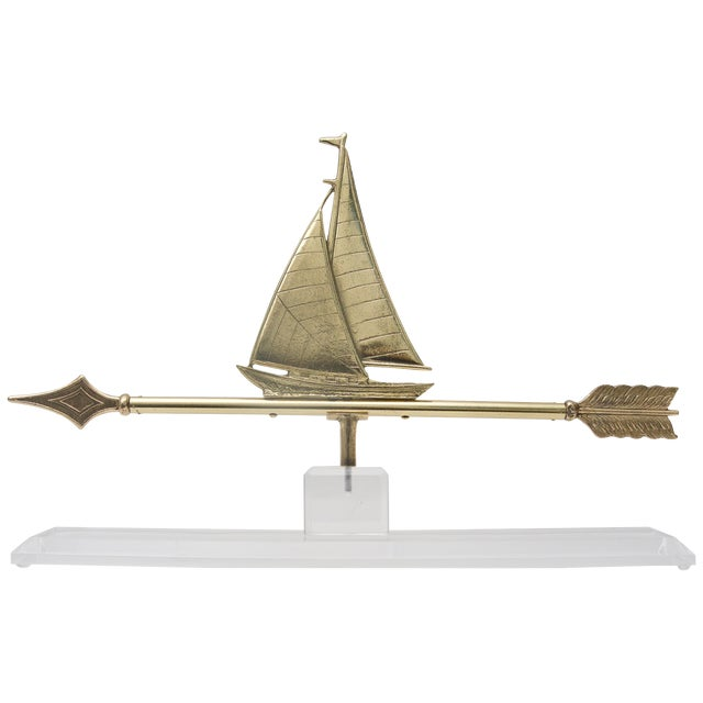 1940s American Polished Brass Sailboat Weather Vane on Lucite Base For Sale