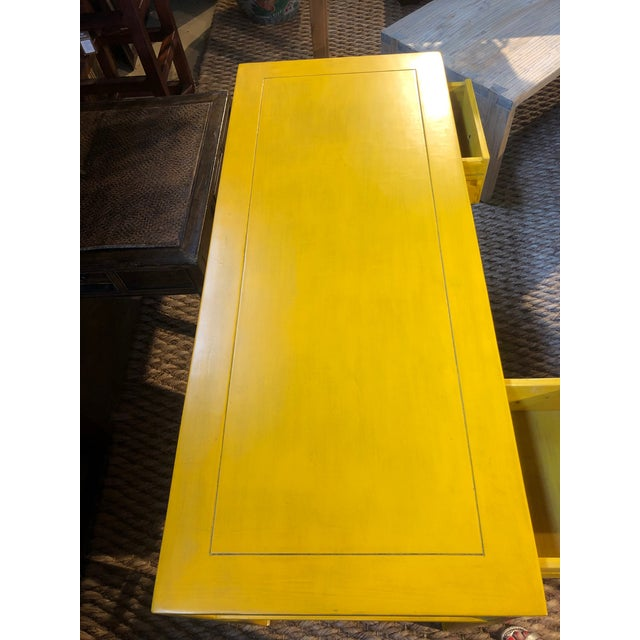 Ming Style Yellow Writing Desk For Sale - Image 4 of 7