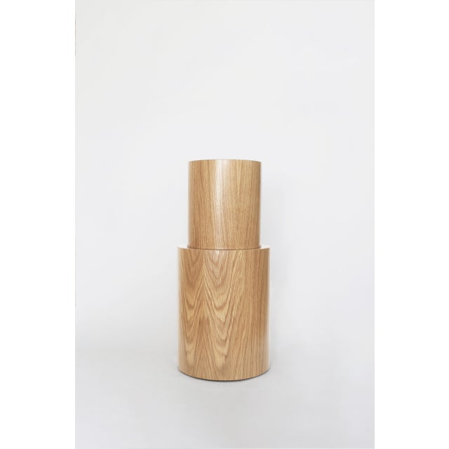 Material Lust Contemporary 100 Side Table in Oak and White by Orphan Work For Sale - Image 4 of 5
