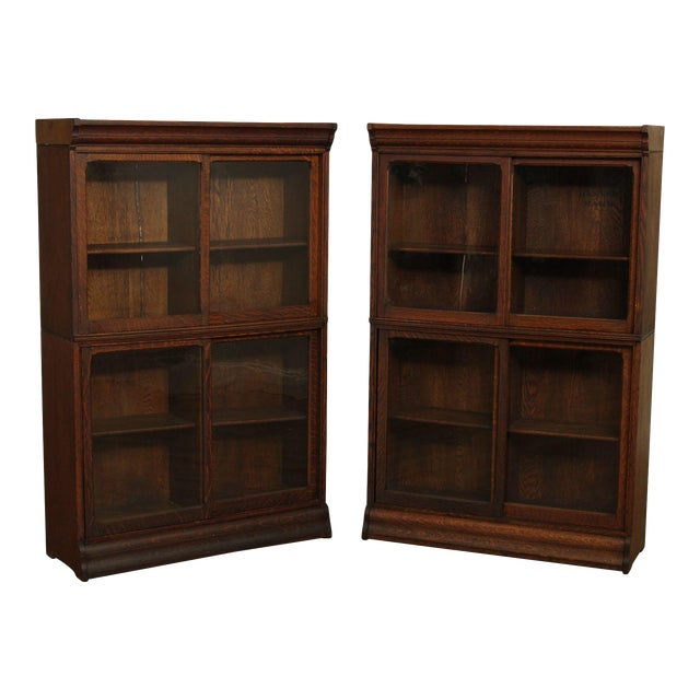 Danner Antique Oak Stacking Sliding Door Bookcases (B) - a Pair For Sale