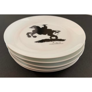 1970s Picasso Bullfight Black & White Graphic Porcelain Appetizer Plates - Set of 5 Preview