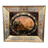 """Image of 19th Century, French Napoleon III Hand Painted Wall Clock With """"Églomisé"""" Glass For Sale"""