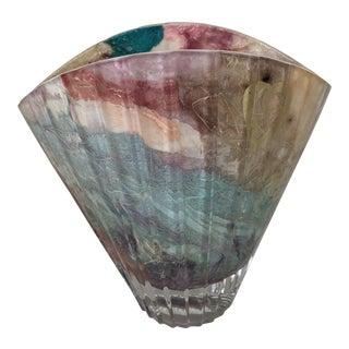 Art Deco Inspired Glass Vase, Signed 2003 For Sale