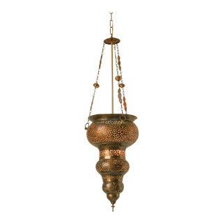 Moroccan Moorish Bronze Pierced Hanging Chandelier For Sale