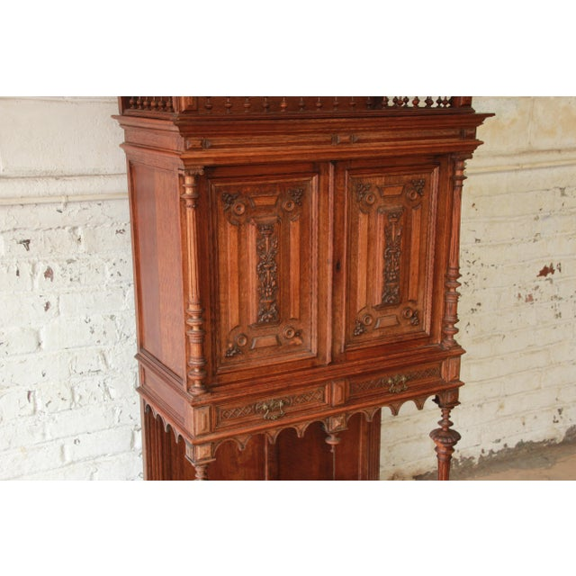 1900 - 1909 Antique Carved Oak Tall French Bar Cabinet For Sale - Image 5 of 13