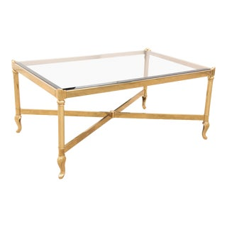 1980s Neoclassical Brass and Smokey Glass Coffee Table For Sale