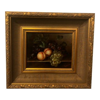 1980s Fruit on Table Still Life Oil on Canvas Painting For Sale
