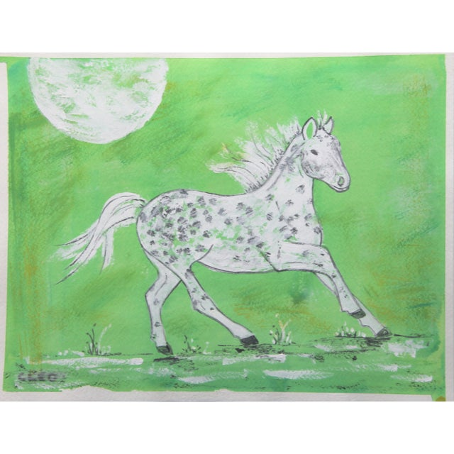 Inspired by playful horses in Chinese porcelain paintings, this piebald horse in gray and white is set in a textured light...