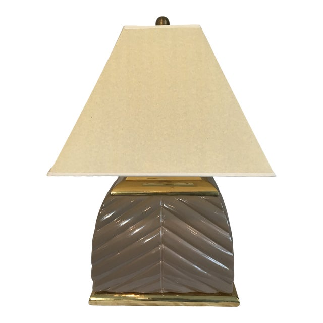 1970s Modern Chevron Taupe Ceramic & Brass Table Lamp For Sale