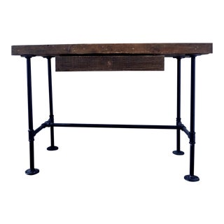 Industrial Style Wooden Writing Desk For Sale