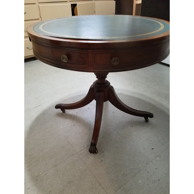 20th Century Traditional W & J Sloane Drum Leather Table For Sale - Image 9 of 13