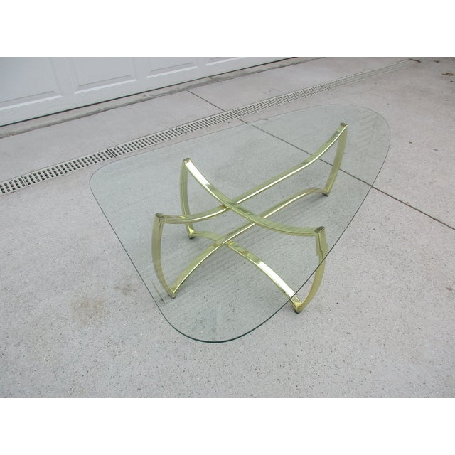 Oblong Brass and Beveled Glass Coffee Table For Sale - Image 9 of 10