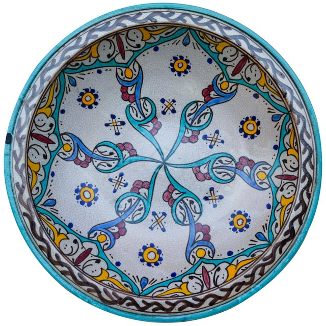 Handcrafted ceramic bowl from Fez, Morocco hand-painted with a Moorish pattern in a traditional Andalusian color...