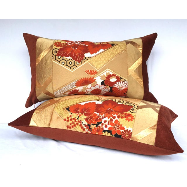 Vintage Japanese Gold & Rust Obi Pillows - A Pair - Image 7 of 7