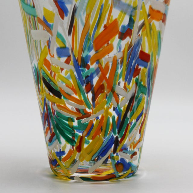 Murano Glass Vase With Colorful Etched Detailing, C. 1960 For Sale - Image 4 of 7