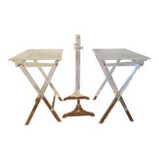 Hollywood Regency Lucite Tray Tables and Stand - 3 Pieces For Sale