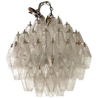 Mid Century Modern Murano Glass Polyhedral Chandelier by Venini Italy 1960s For Sale