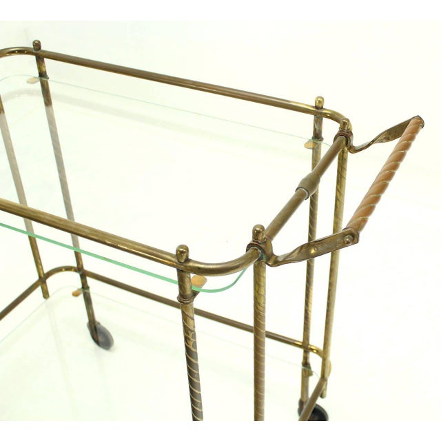 Early 20th Century Brass Tube Frame and Glass Rectangular Tea Bar Cart For Sale - Image 5 of 8