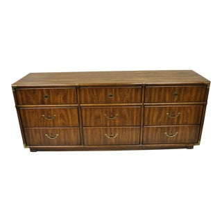 Vintage Campaign Style Long Dresser Credenza Hollywood Regency Accolade Drexel