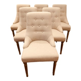 Linen Tufted Dining Chairs - Set of 6