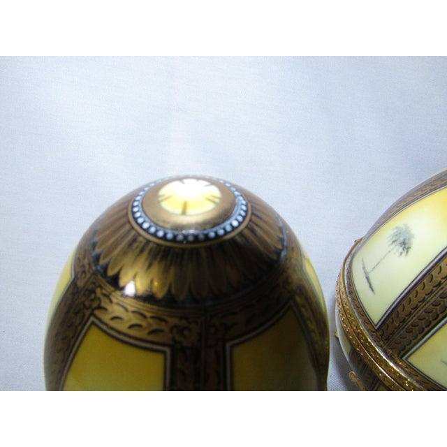Hinged Porcelain Egg Trinket Box With Palm Trees - A Pair For Sale - Image 4 of 7