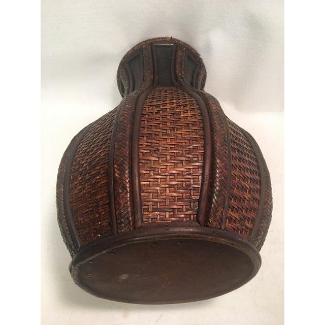 Metal Beautiful Deep Brown Rattan Basket Floor Vase For Sale - Image 7 of 8