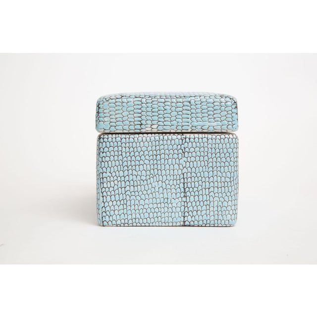 2000 - 2009 Turquoise Robins Egg Blue Snakeskin Glazed Porcelain Lidded Box For Sale - Image 5 of 13