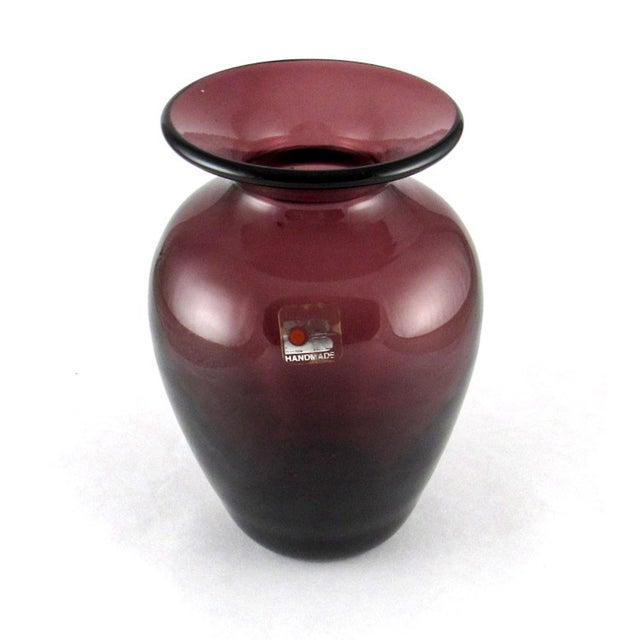 Mid-Century Modern 1980s Blenko Hand Blown Amethyst Glass Vase For Sale - Image 3 of 10