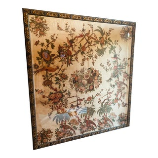 Broderie Perse Chintz Appliques Linen Palm Trees Birds Flowers Framed Textile Medallion Folk Art Achsah Goodwin Wilkins Style Unframed For Sale