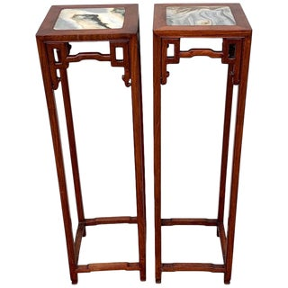 Pair of Chinese Export Hardwood and Marble Pedestals For Sale