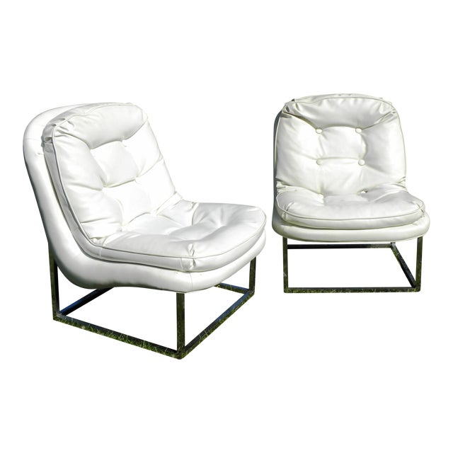 vintage mid century modern white vinyl chrome lounge chairs a