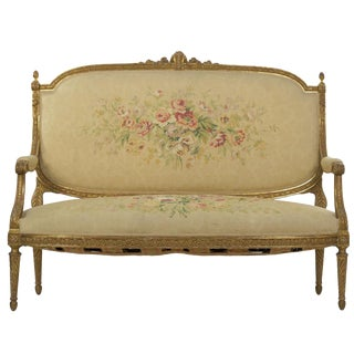 French Louis XVI Style Carved Giltwood Antique Settee Loveseat Sofa, 20th Century For Sale