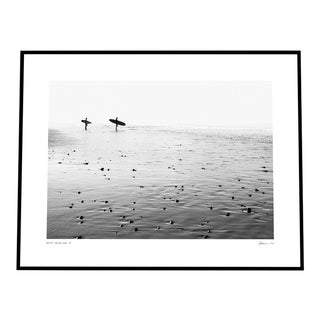 'Morning Surf' Black & White Photograph on Rag Paper by Enric Gener Framed in Black For Sale