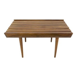 Vintage Mid Century George Nelson Style Small Short Slat Bench For Sale