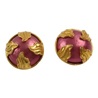 Dominique Aurientis Paris Clip on Earrings Gilt Metal & Pink Pearl Cabochon For Sale
