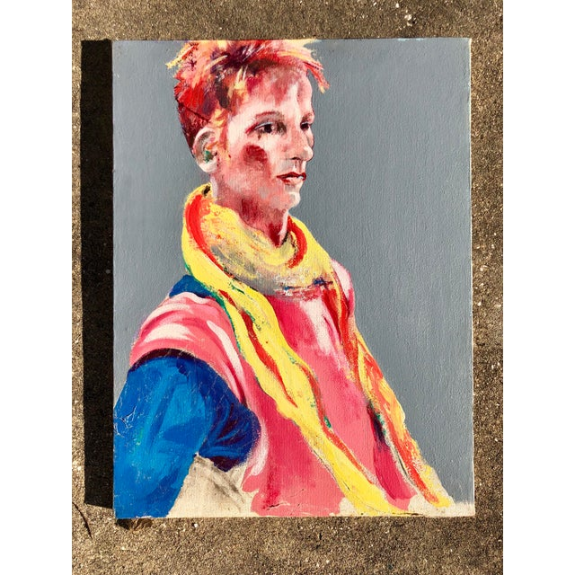 Mid-Century Modern Vintage Multi-Colored Portrait For Sale - Image 3 of 5