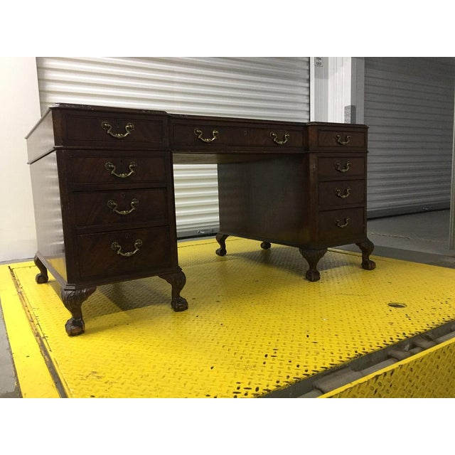 Animal Skin English Antique George III Leather Topped Desk For Sale - Image 7 of 11
