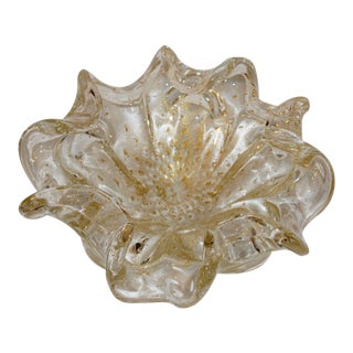 Late 20th Century Swirled Blown Art Glass Gold Leaf Bowl For Sale