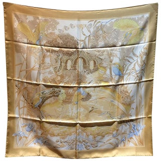 Hermes Au Bord De l'Eau Silk Scarf in Beige For Sale