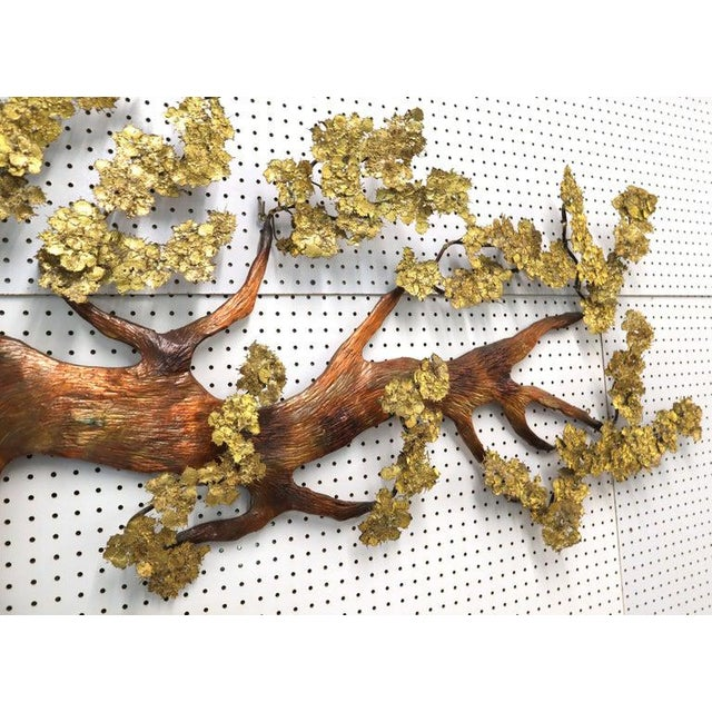 Very Large Tree of Life Metal Brass and Copper Wall Hanging Sculpture For Sale - Image 6 of 11