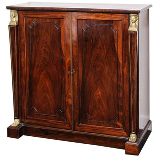19th Century English Regency, Two-Door Cabinet, Rosewood With Doré Bronze Mount For Sale