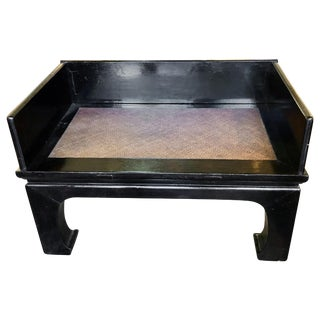 Early 20th Century Vintage Black Lacquered Asian Bench For Sale