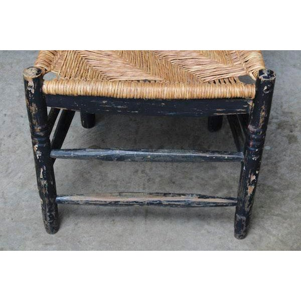 Antique Hand Hewn Rush Seat Chair For Sale - Image 4 of 6