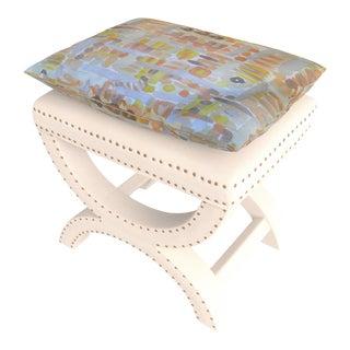 Vintage Custom X Bench Lee Jofa Groundworks Linen 'Moriyama' Footstool For Sale
