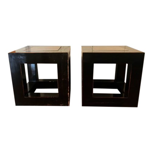 20th Century Asian Wood and Stone Cube Side Tables - a Pair For Sale